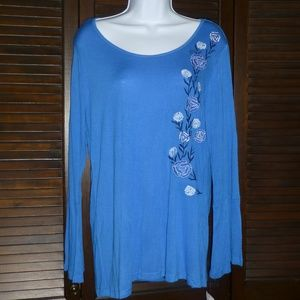 NY Collection Blue Floral Tunic Top, L, NWT